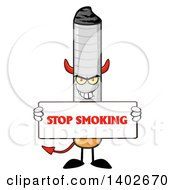 Clipart Of A Cartoon Devil Cigarette Mascot Character Holding A Stop Smoking Sign Royalty Free Vector Illustration
