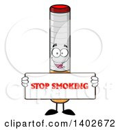 Clipart Of A Cartoon Cigarette Mascot Character Holding A Stop Smoking Sign Royalty Free Vector Illustration by Hit Toon