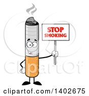 Clipart Of A Cartoon Cigarette Mascot Character Holding A Stop Smoking Sign Royalty Free Vector Illustration