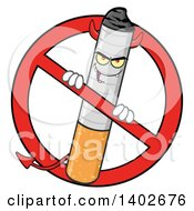 Clipart Of A Cartoon Devil Cigarette Mascot Character In A Prohibited Symbol Royalty Free Vector Illustration
