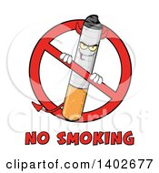 Clipart Of A Cartoon Devil Cigarette Mascot Character In A Prohibited Symbol Over No Smoking Text Royalty Free Vector Illustration by Hit Toon