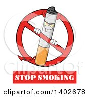 Clipart Of A Cartoon Devil Cigarette Mascot Character In A Prohibited Symbol Over Stop Smoking Text Royalty Free Vector Illustration by Hit Toon