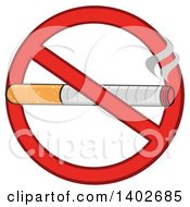 Cartoon Cigarette In A Prohibited Restricted Symbol