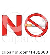 Clipart Of A Cartoon Cigarette In A Prohibited Restricted Symbol In The Word NO Royalty Free Vector Illustration