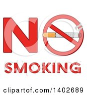 Clipart Of A Cartoon Cigarette In A Prohibited Restricted Symbol In The Words NO SMOKING Royalty Free Vector Illustration