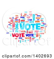 Red White And Blue Patriotic American Vote 2016 Word Collage On White