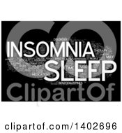 Clipart Of A Sleep Disorders Tag Word Collage On Black Royalty Free Illustration by MacX