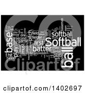 Softball Tag Word Collage On Black