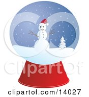 Snow Globe With A Friendly Snowman With Eyes Of Coal Branch Arms And A Carrot Nose Wearing A Santa Hat And Positioned In A Snowy Winter Landscape By A Flocked Tree On Christmas
