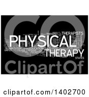 Clipart Of A Physical Therapy Tag Word Collage On Black Royalty Free Illustration