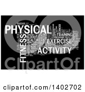 Clipart Of A Fitness Activity Tag Word Collage On Black Royalty Free Illustration