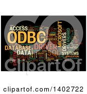 Clipart Of A ODBC Open Database Connectivity Tag Word Collage On Black Royalty Free Illustration