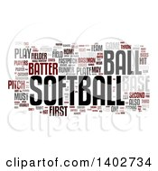 Softball Tag Word Collage On White