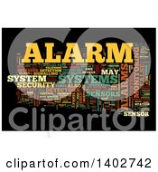 Clipart Of A Security Alarm Tag Word Collage On Black Royalty Free Illustration