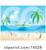 Two Palm Trees Near An Umbrella Table With A Beverage On It With A View Of An Island In The Distance Clipart Illustration