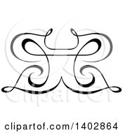 Clipart Of A Black And White Swirl Butterfly Calligraphic Design Element Royalty Free Vector Illustration by dero