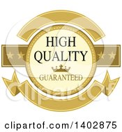 Clipart Of A High Quality Guaranteed Banner Retail Label Design Element Royalty Free Vector Illustration