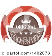 Clipart Of A Guaranteed Original Banner Retail Label Design Element Royalty Free Vector Illustration