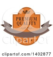 Brown And Orange Toned Crown Shield And Banner Retail Label Design Element With Premium Quality Text