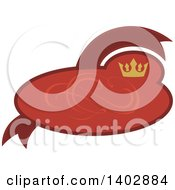 Red Oval And Banner Retail Label Design Element With A Swirl And Crown
