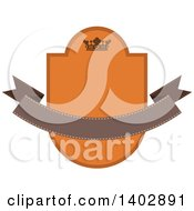 Brown And Orange Toned Crown Shield And Banner Retail Label Design Element