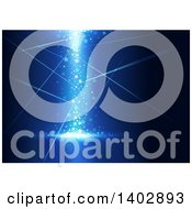 Clipart Of A Background Of Magical Lights And Rays On Blue Royalty Free Vector Illustration