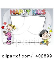 Clipart Of A Boy And Girl Around A Blank Sign With Happy Kids Text On Stripes Royalty Free Vector Illustration by dero