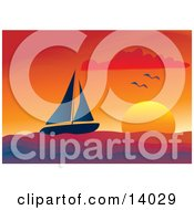 Two Seagulls Flying Over A Lone Sailboat Sailing At Sunset Clipart Illustration