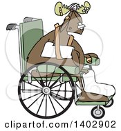 Clipart Of An Injured Accident Prone Moose In A Wheelchair Royalty Free Vector Illustration