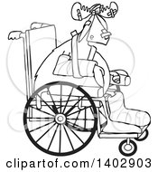 Clipart Of A Black And White Lineart Injured Accident Prone Moose In A Wheelchair Royalty Free Vector Illustration