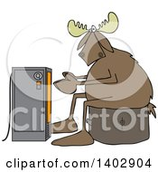 Clipart Of A Cold Moose Sitting On A Stump And Warming Up In Front Of An Electric Space Heater Royalty Free Vector Illustration