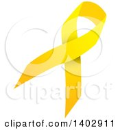 Clipart Of A Yellow Awareness Ribbon Royalty Free Vector Illustration