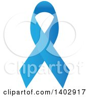 Clipart Of A Blue Awareness Ribbon Royalty Free Vector Illustration