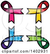 Clipart Of A Frame Of Pink Yellow Red Green And Blue Awareness Ribbons Royalty Free Vector Illustration