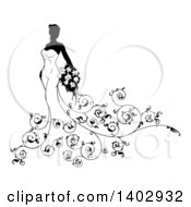 Clipart Of A Silhouetted Black And White Bride In Her Dress With Ornate Floral Vines Holding Flowers Royalty Free Vector Illustration