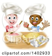 Clipart Of Happy White And Black Boys Wearing Toque Hats Making Frosting And Cookies Royalty Free Vector Illustration by AtStockIllustration
