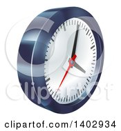 Clipart Of A 3d Metallic Wall Clock Royalty Free Vector Illustration