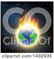 Clipart Of A Burning Earth Globe With Bright Flames Against Outer Space Royalty Free Vector Illustration