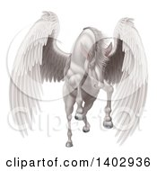 Clipart Of A Majestic White Winged Horse Pegasus Flying Forward Royalty Free Vector Illustration by AtStockIllustration