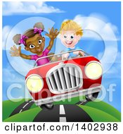 Clipart Of A Happy White Boy Driving A Black Girl And Catching Air In A Convertible Car On A Country Road Royalty Free Vector Illustration