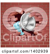 Clipart Of A Megaphone Breaking Through A Brick Wall Royalty Free Vector Illustration