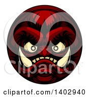 Clipart Of A Grinning Samurai Demon Monster Face Royalty Free Vector Illustration by AtStockIllustration
