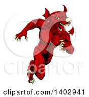 Clipart Of A Muscular Aggressive Red Welsh Dragon Man Mascot Sprinting Upright Royalty Free Vector Illustration by AtStockIllustration
