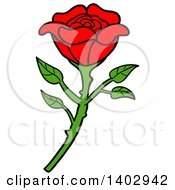 Cartoon Clipart Of A Beautiful Red Rose Royalty Free Vector Illustration by LaffToon