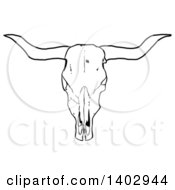 Cartoon Clipart Of A Black And White Long Horn Steer Cow Skull Royalty Free Vector Illustration by LaffToon