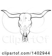 Black And White Long Horn Steer Cow Skull