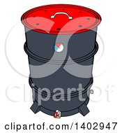 Cartoon Clipart Of A Drum Barrel Bbq Smoker Royalty Free Vector Illustration by LaffToon