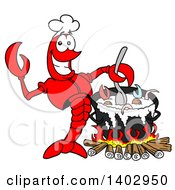 Cartoon Clipart Of A Lobster Chef Stirring A Country Boil Royalty Free Vector Illustration by LaffToon