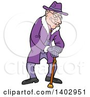 Senior Caucasian Man Wearing All Purple And Leaning On A Cane