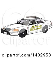 Cartoon Clipart Of A White Sheriff Police Car Royalty Free Vector Illustration